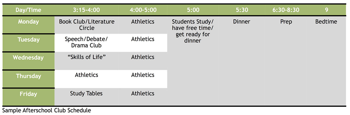 Wasambo HS Sample Afterschool Club Schedule